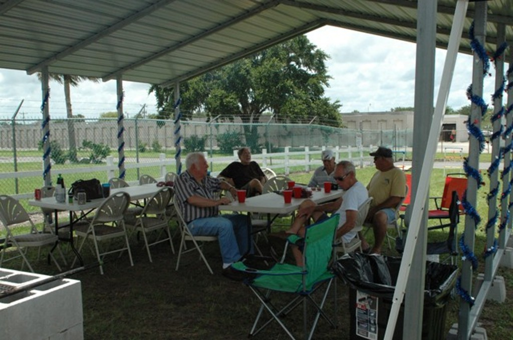 07-04-2013 Aerie members enjoying the shade at the new BBQ pit