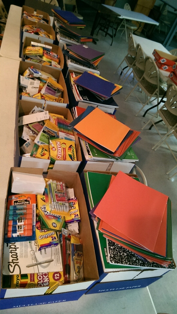 08-10-2014 So many donations for the School Supply Drive!
