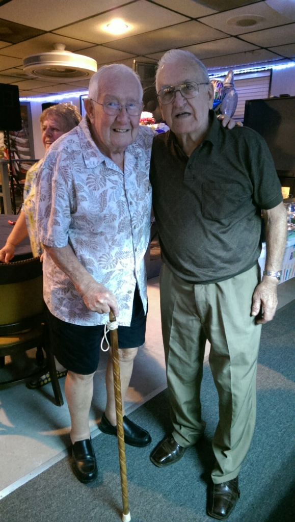 10-18-2014 Dick (R) & friend at Dick's 90th Birthday Party!