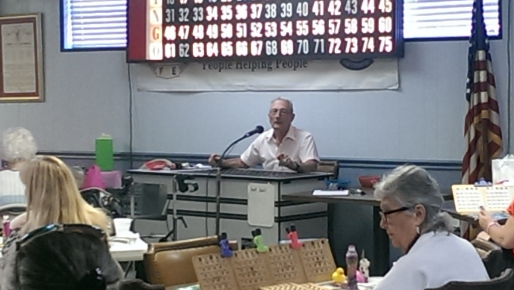 10-18-2014 Don calls bingo at 2014 Art Ehrmann Cancer Fund Bingo Marathon