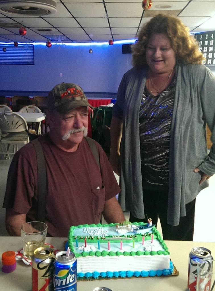 12-21-2013 Jimmie and Stephanie with his birthday cake